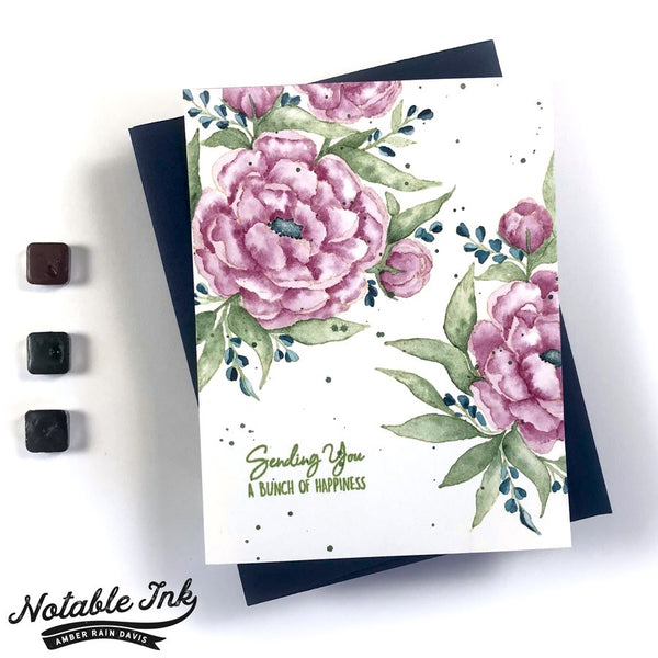 Kraftgali Peony Bliss Stamp and Dies Set
