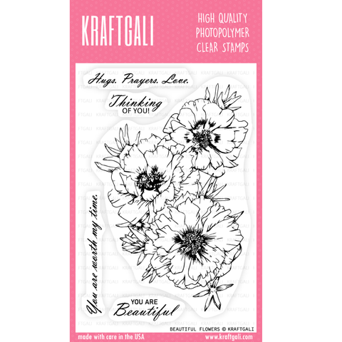 KRAFTGALI BEAUTIFUL FLOWERS 4x6 inch Stamp Set