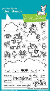 unicorn picnic LAWN FAWN Stamps