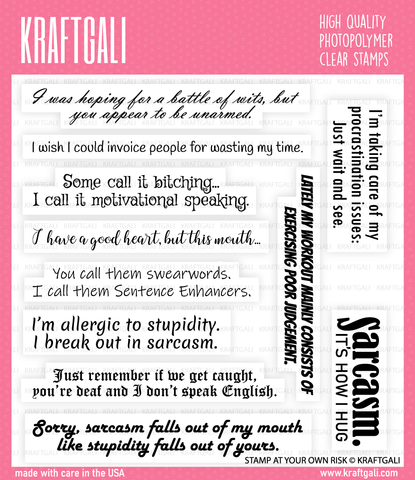 KRAFTGALI STAMP AT YOUR OWN RISK 6x6 inch Stamp Set