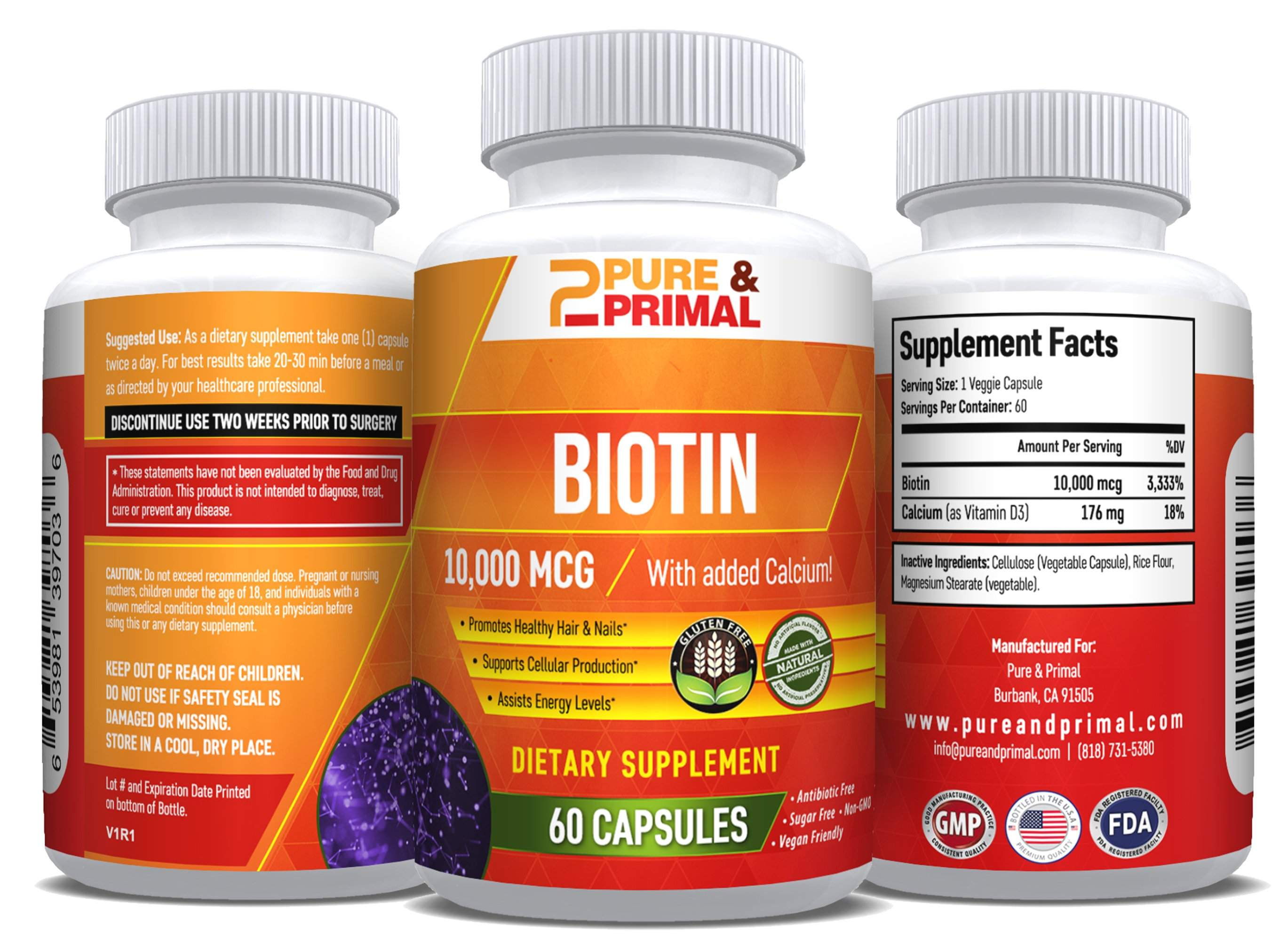 (2 Bottles) - Biotin - Beneficial to Hair, Nails, and Skin