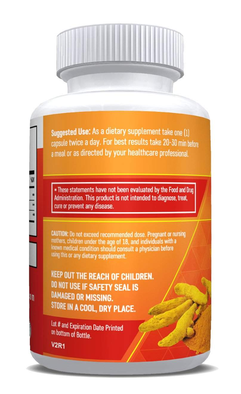 (2 Bottles) - Turmeric with BioPerine - Promotes Overall Health