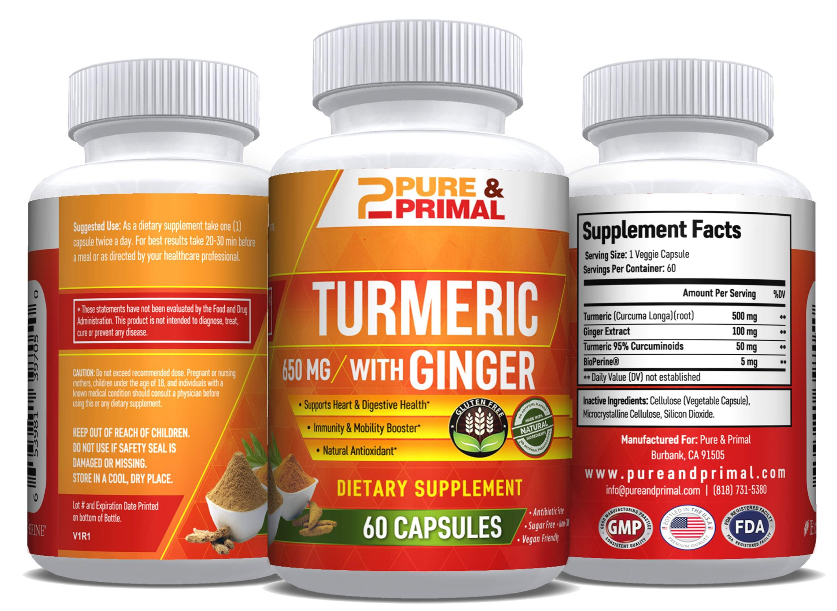 (2 Bottles) - Turmeric with Ginger - Powerful Antioxidant