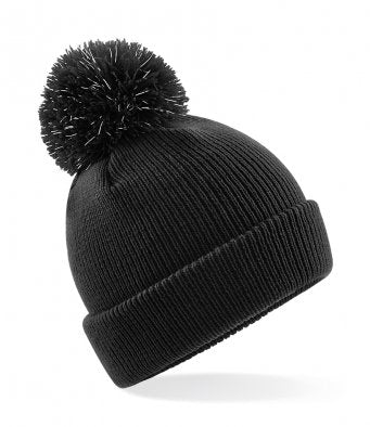 Kids Reflective Bobble Beanie - Black