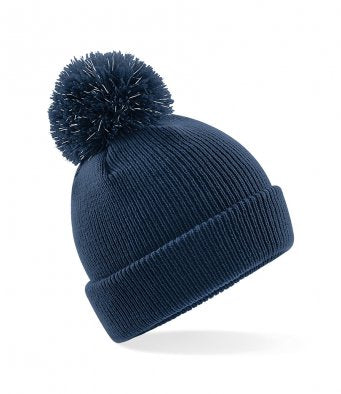 Kids Reflective Bobble Beanie - Navy Blue
