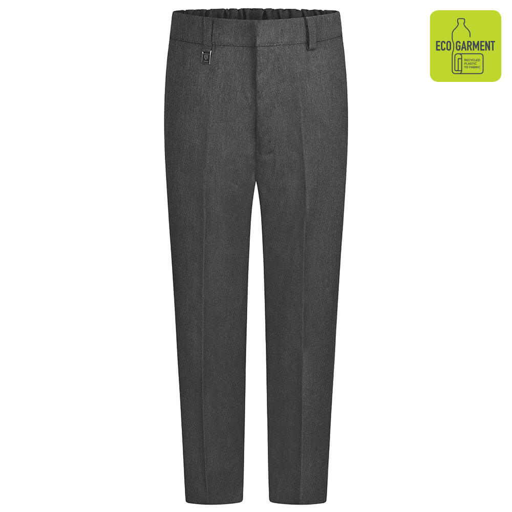 Boys Grey School Trousers with Waist Adjuster by Zeco