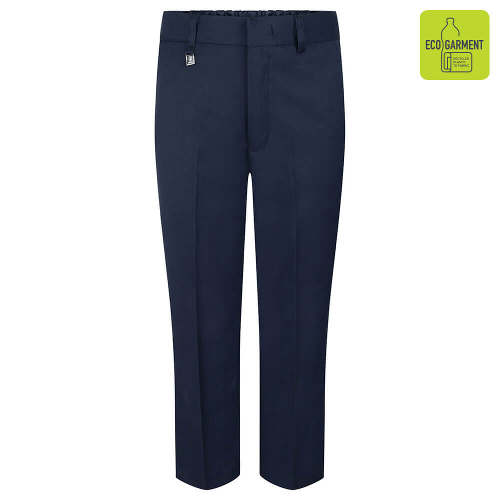 Boys Navy School Trousers with Waist Adjuster by Zeco