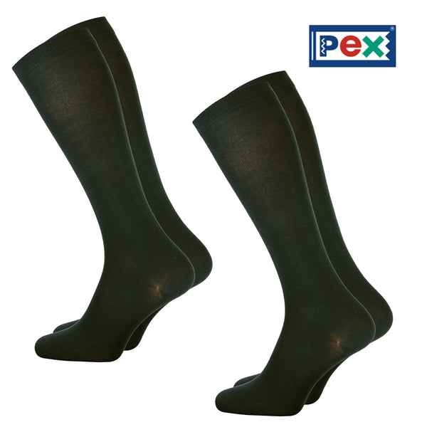 Knee High Smooth Knit Black Socks by Pex