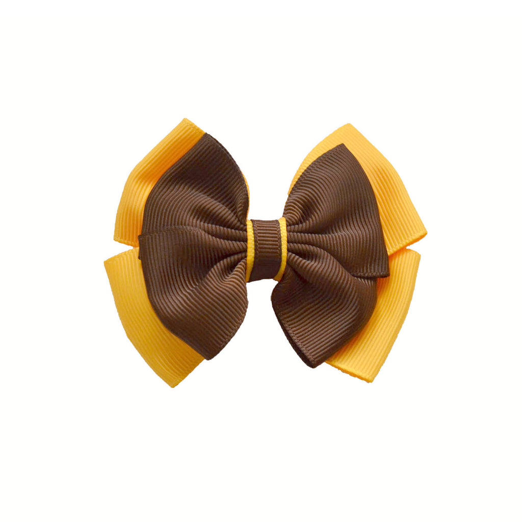 Opal Bow Hair Clip Brown / Yellow