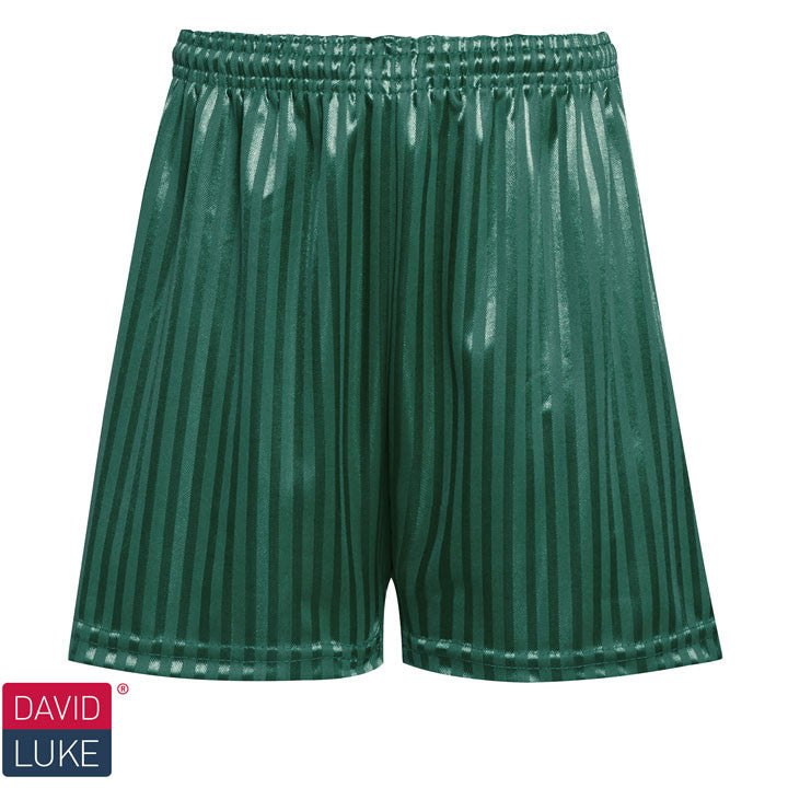 Polyester Shadow Stripe Bottle Green Sports Shorts