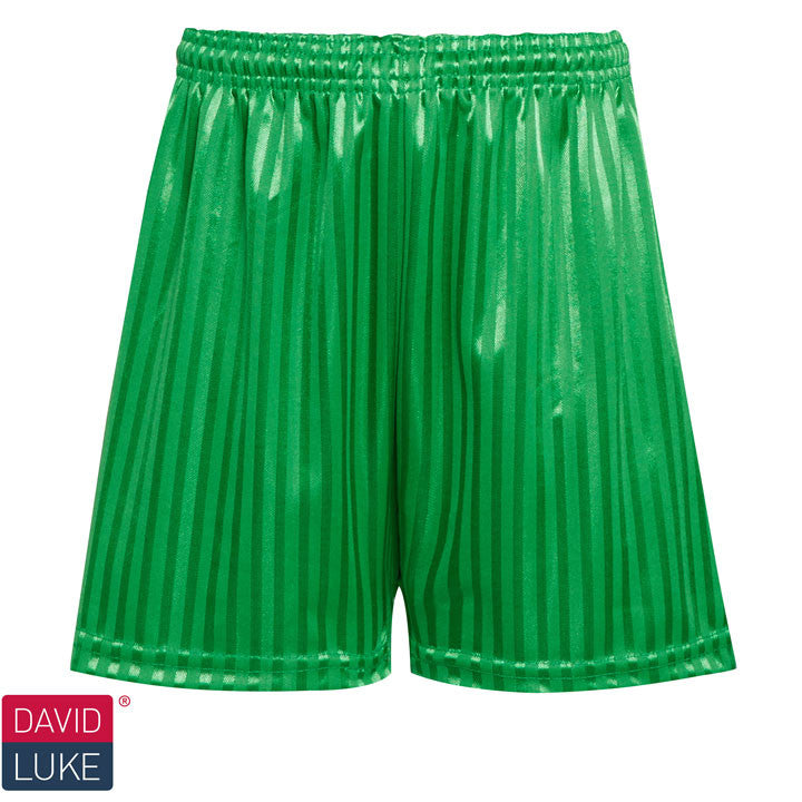 Polyester Shadow Stripe Emerald Green Sports Shorts