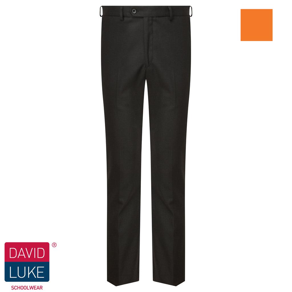 Charcoal Grey Slim Fit Flat Front Senior Trouser by David Luke