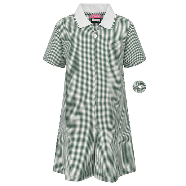Green Gingham Check Summer Dress by Zeco