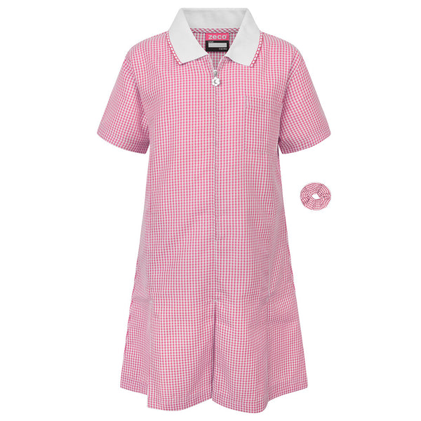 Pink Gingham Check Summer Dress by Zeco