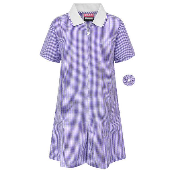 Purple Gingham Check Summer Dress by Zeco