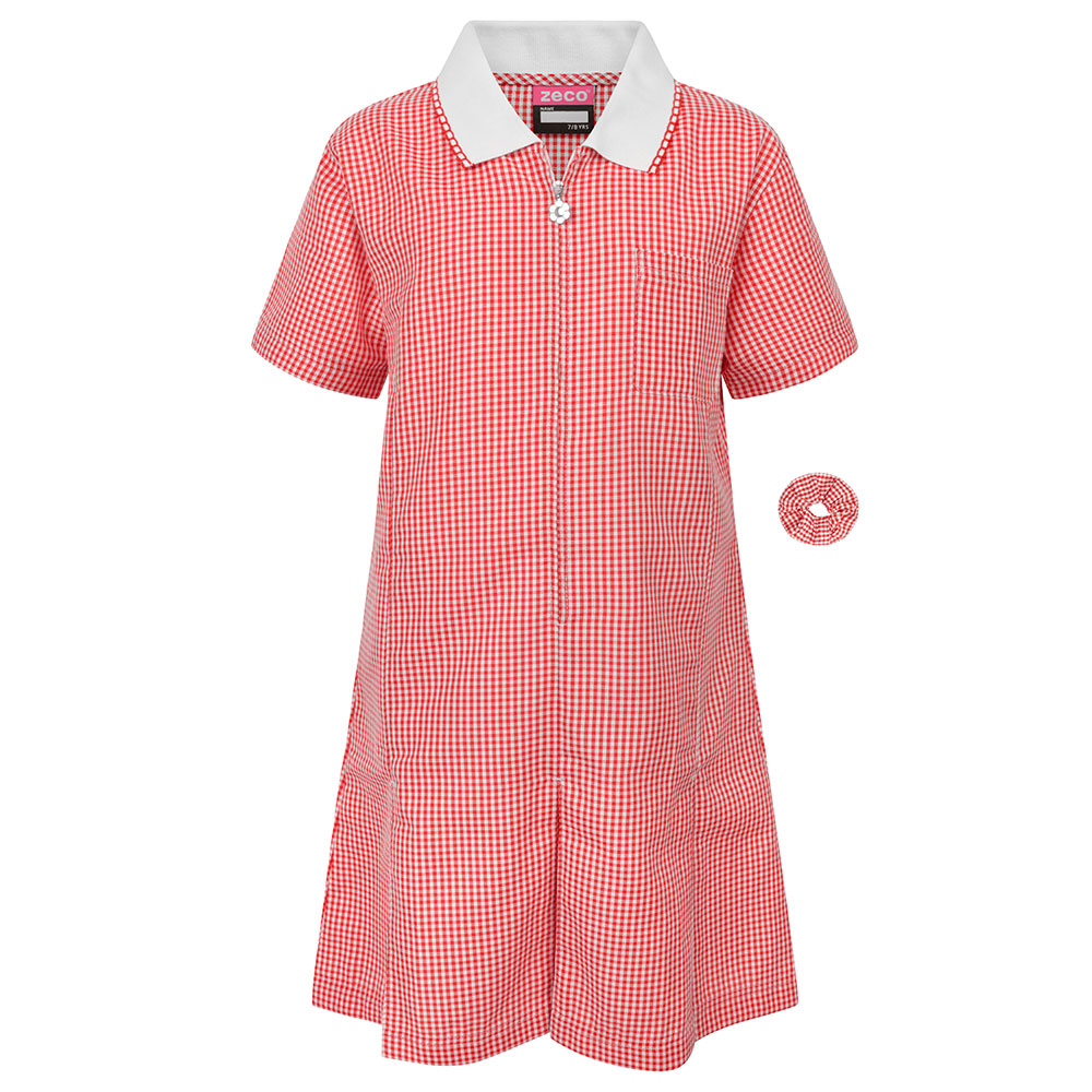Red Gingham Check Summer Dress by Zeco