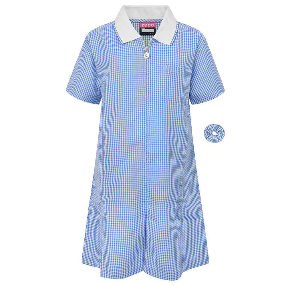 Sky Blue Gingham Check Summer Dress by Zeco