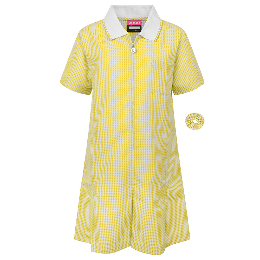 Yellow Gingham Check Summer Dress by Zeco