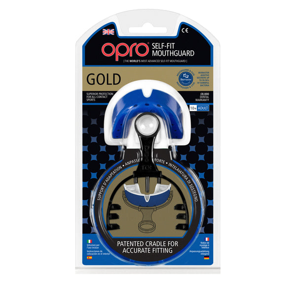 Opro Shield Gold Mouth Guard - Royal/White