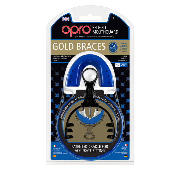 Opro Shield Gold Braces Mouth Guard - Dark Blue/White