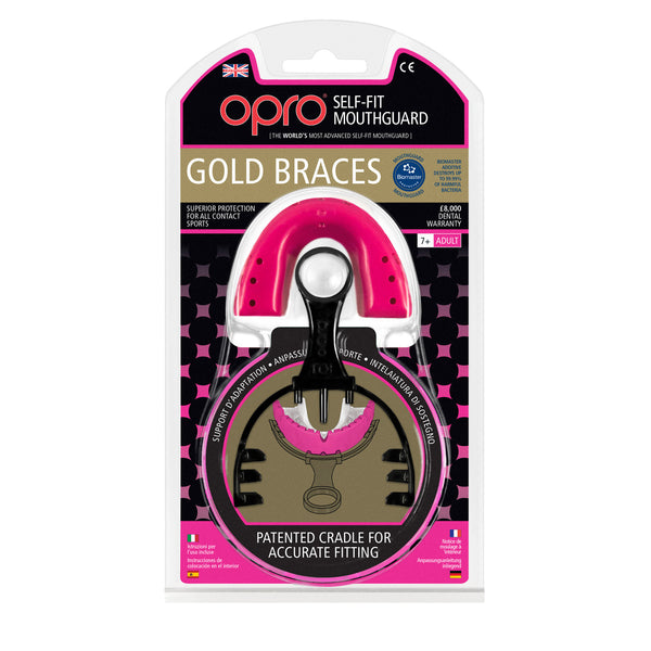 Opro Shield Gold Braces Mouth Guard - Pink/White