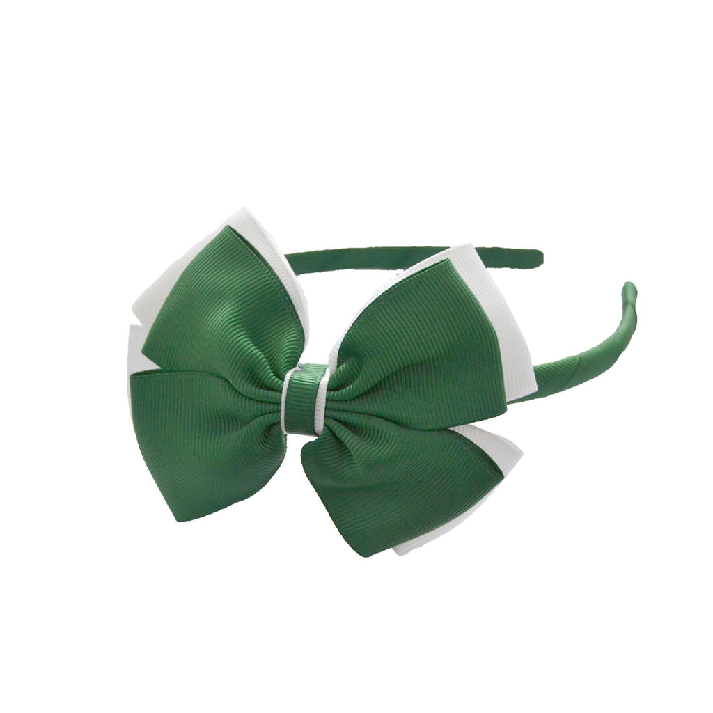 Opal Bow Headband Green / White