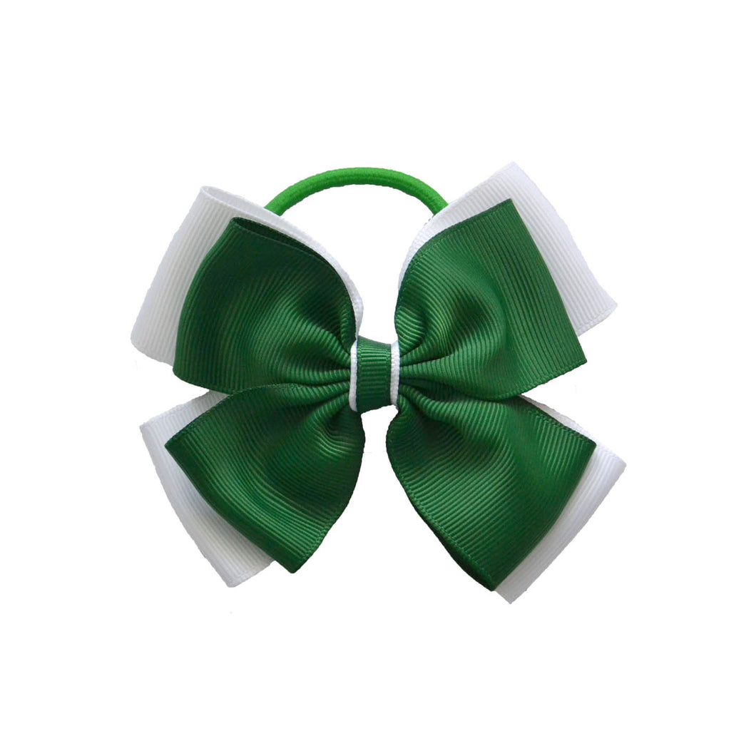 Opal Bow Hair Bobble Green / White