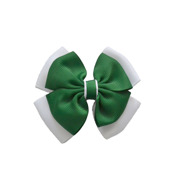 Opal Bow Hair Clip Green / White