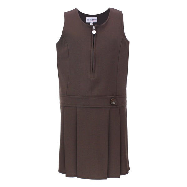 Brown Zip Pinafore with Heart Detail