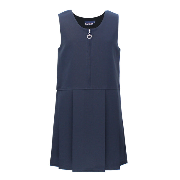 Pleat Style Navy Pinafore - Lynton