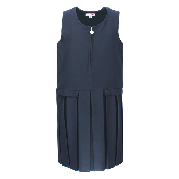 Navy Two Button Pinafore