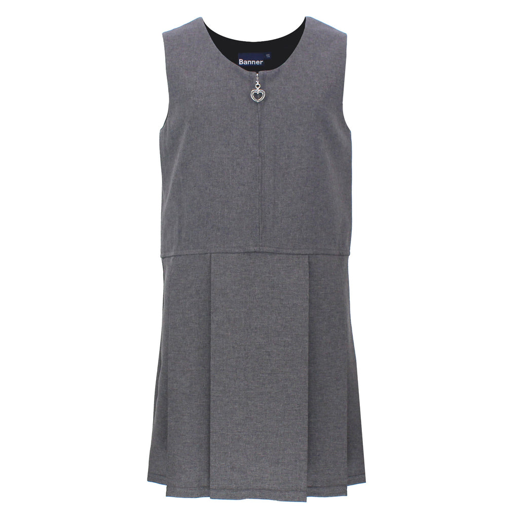 Pleat Style Grey Pinafore - Lynton