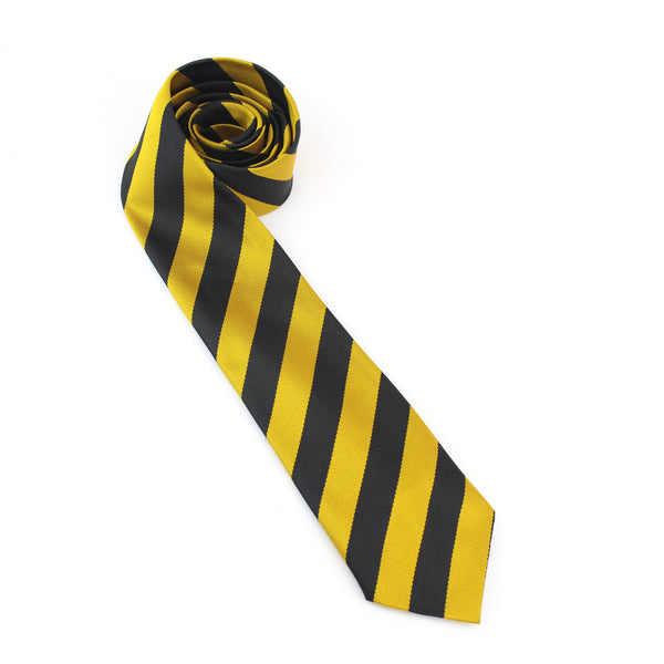 "52"" Retro School Tie in Black and Gold Broad Stripe"