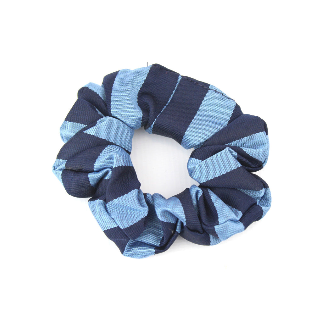 Retro School Hair Scrunchie in Navy and Sky Broad Stripe