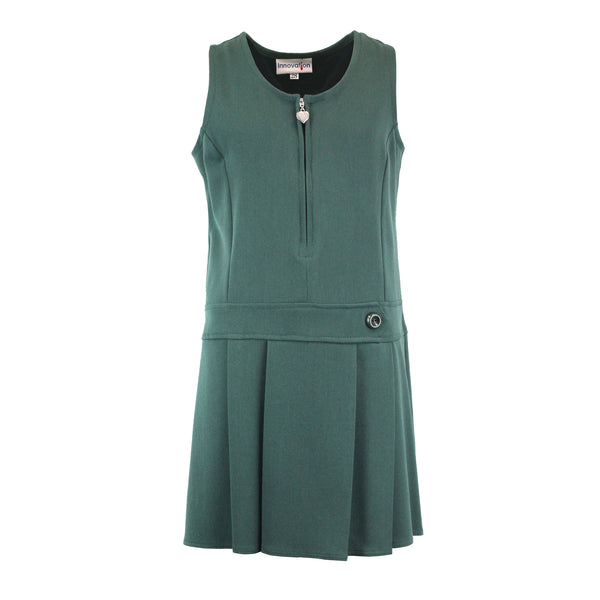 Bottle Green Zip Pinafore with Heart Detail