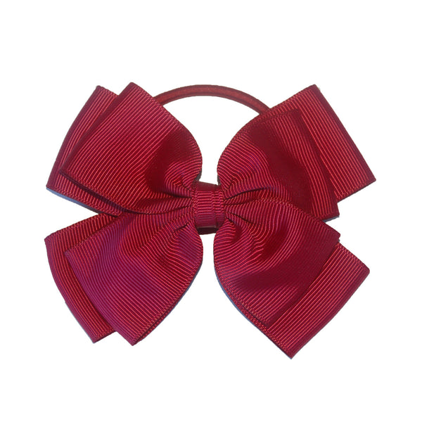 Opal Bow Hair Bobble Maroon
