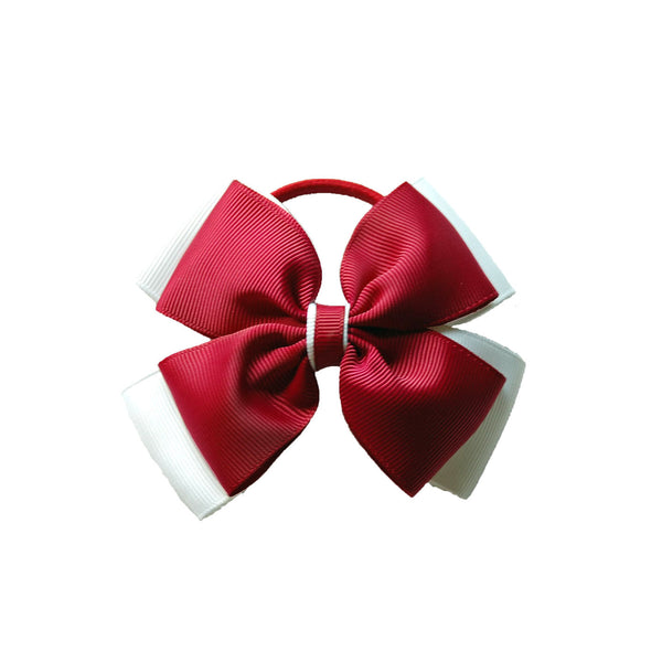 Opal Bow Hair Bobble Maroon / White