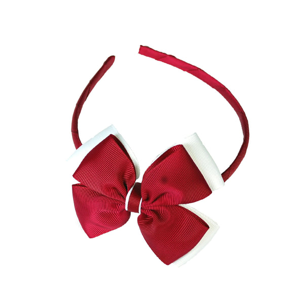 Opal Bow Headband Maroon / White