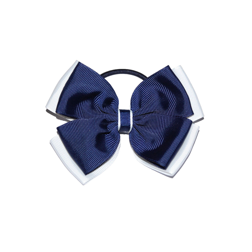 Opal Bow Hair Bobble Navy / White