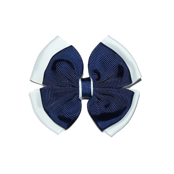 Opal Bow Hair Clip Navy / White