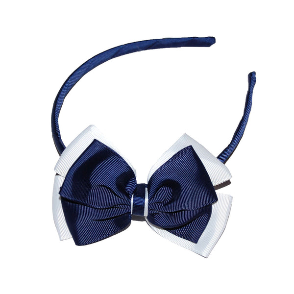 Opal Bow Headband Navy / White