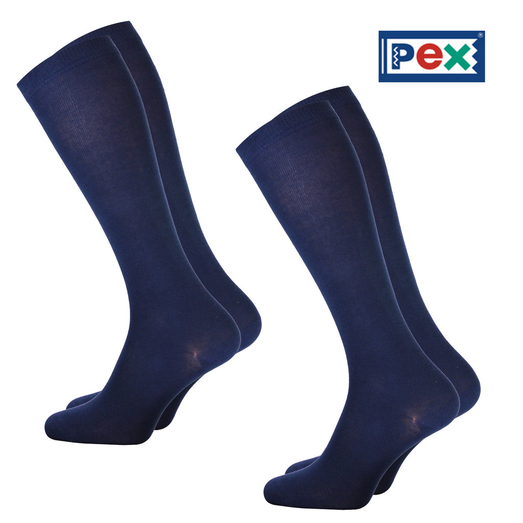 Knee High Smooth Knit Navy Socks by Pex