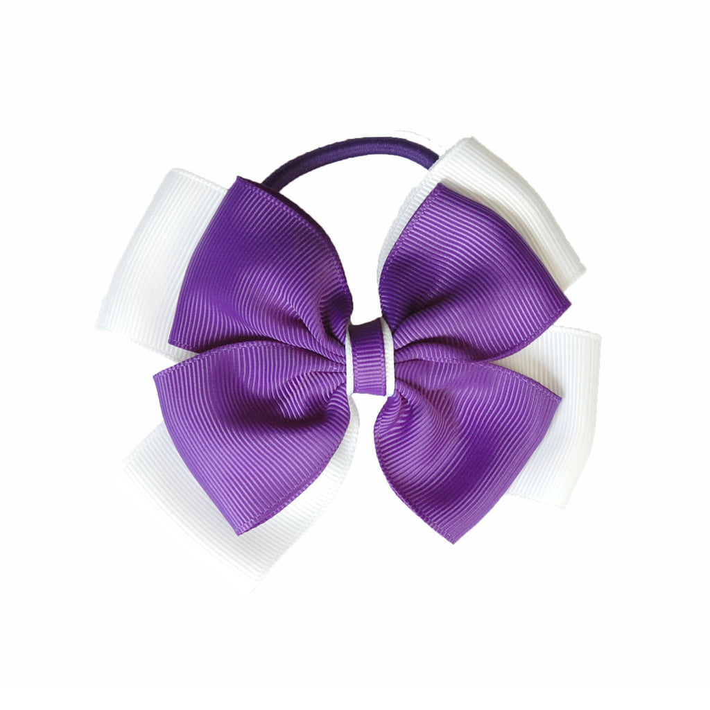 Opal Bow Hair Bobble Purple / White
