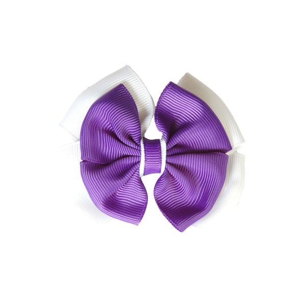 Opal Bow Hair Clip Purple / White