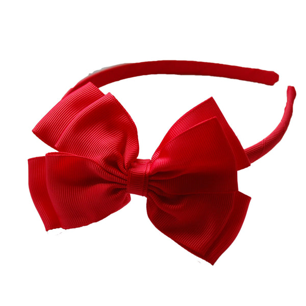 Opal Bow Headband Red