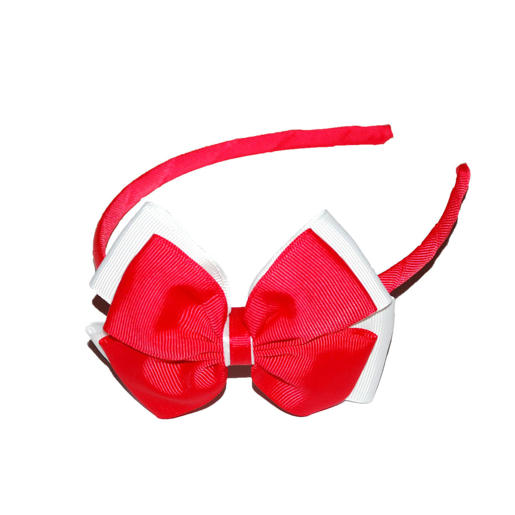 Opal Bow Headband Red / White