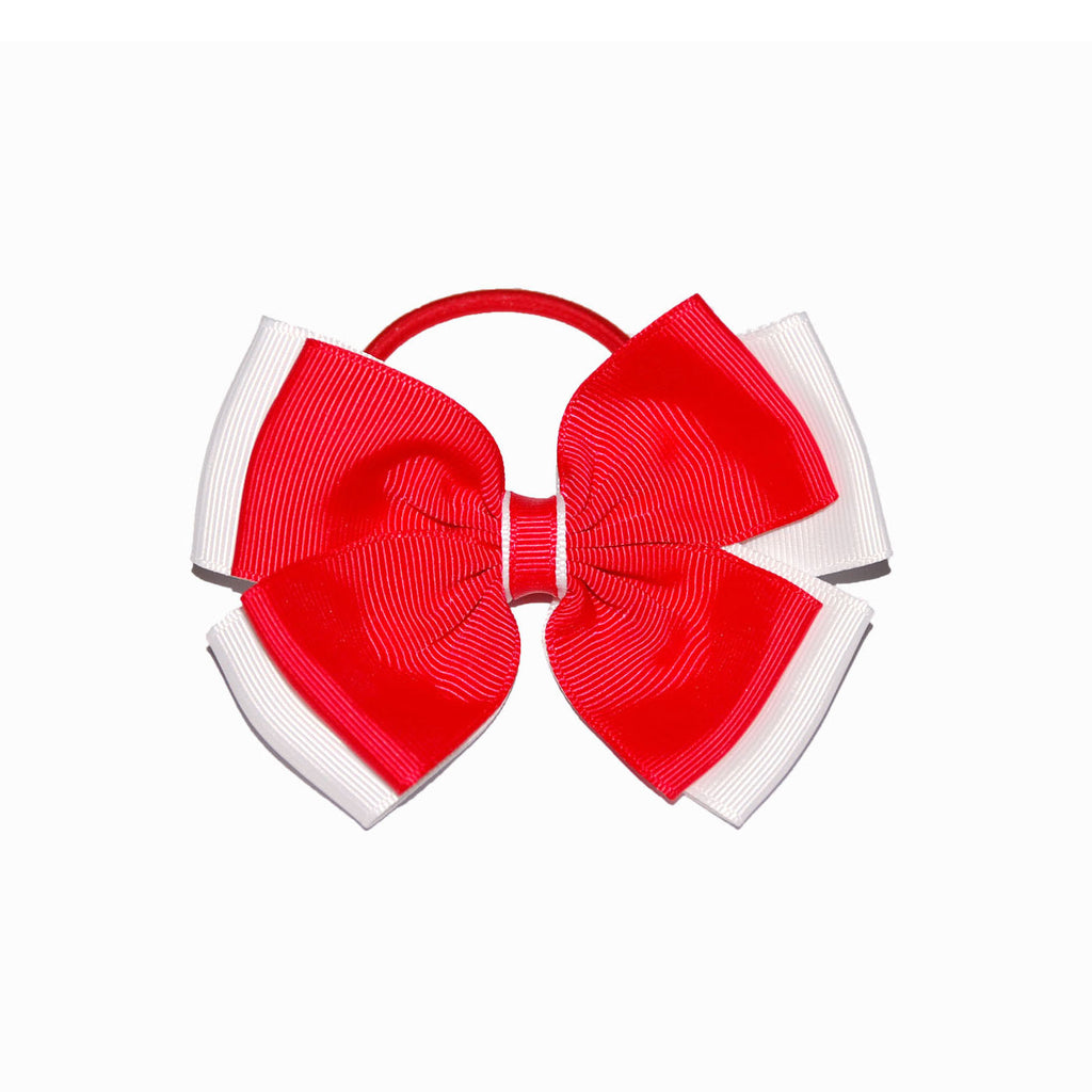 Opal Bow Hair Bobble Red / White