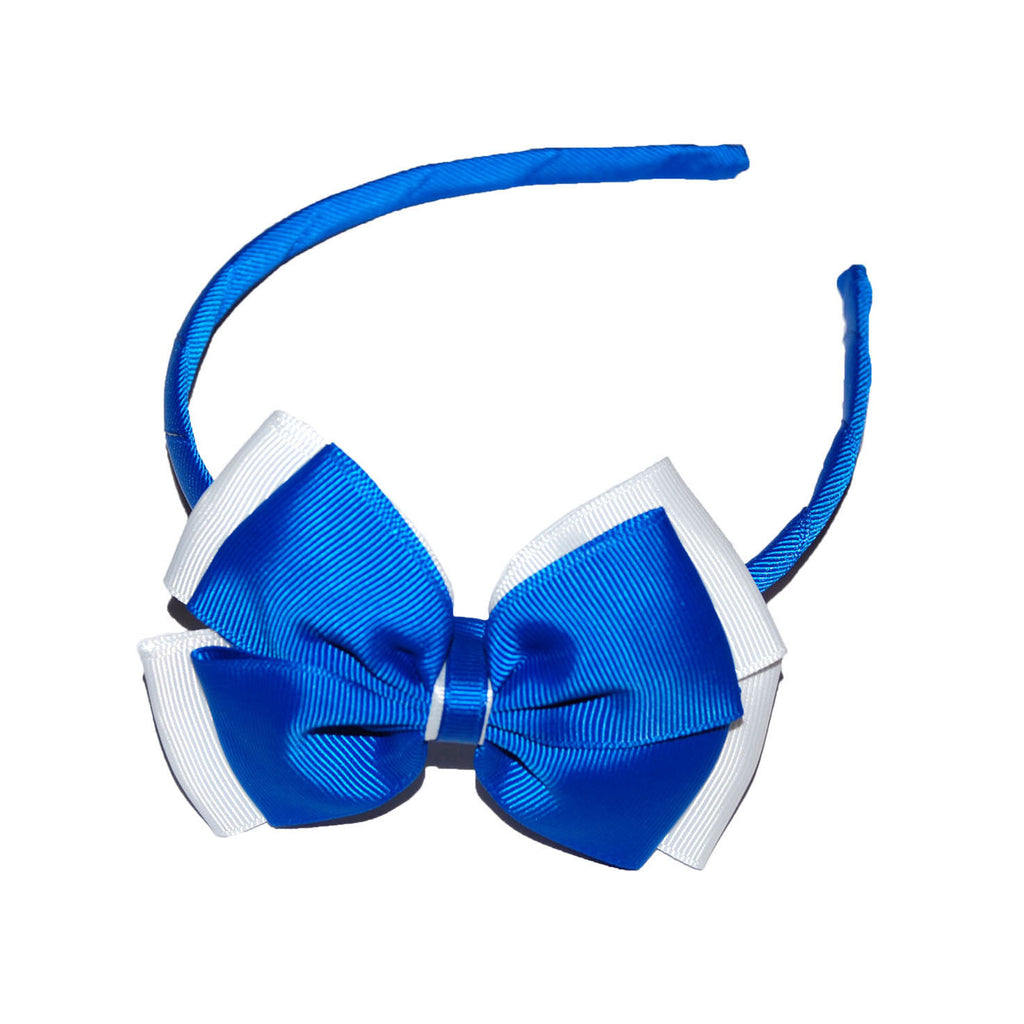 Opal Bow Headband Royal / White