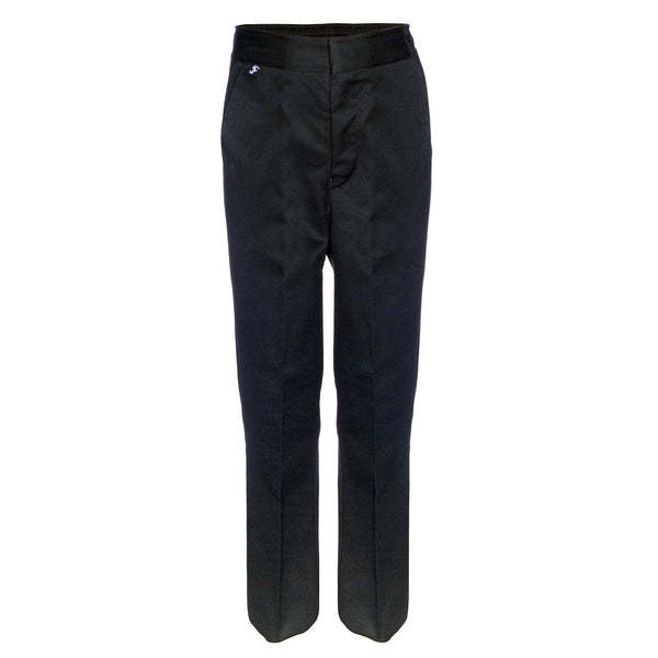 Flat Front Slim Fit Boys Black School Trousers by Innovation