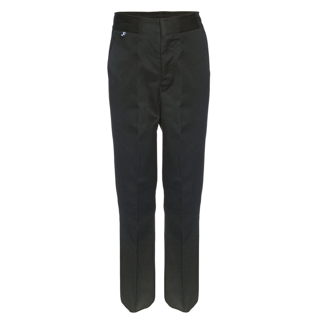 Flat Front Slim Fit Boys Charcoal Grey School Trousers by Innovation